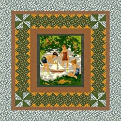"Thimbleberries Lazy Summer Day with a Toy Sailboat ""Set Sail"" Fabric Wall Hanging Quilt Panel (Great for Quilting, Sewing, Craft Projects, & More) 34"" X 36"""