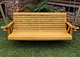 ROLL BACK Amish Heavy Duty 800 Lb 5ft. Porch Swing With Cupholders - Cedar Stain - Made in USA