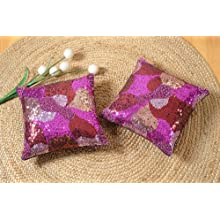 Shahenaz Home Shop Luxe Glamour Poly Dupion Cushion Cover - Purple