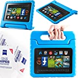 """2013 Kindle Fire Hd 7"""" Cover Case Slim Fit Silicone Plastic Dual Protective Back Cover Standing Case Kid Proof Case for Amazon Kindle Fire Hd 7 Inch(will Not Fit Hd or HDX Models)-multiple Color Options (EVA-Kindle Fire HD 7(2013):Blue)"""