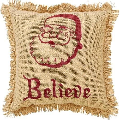 Burlap Santa Pillow Fringed