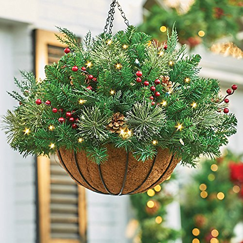 Lighted Christmas Hanging Baskets For Outside 2018