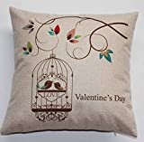 Cotton Linen Square Decorative Throw Pillow Case Cushion Cover Simple Branch Birdcage Valentines Day Gifts 18