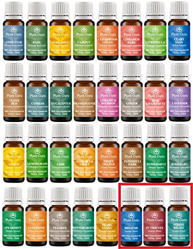 Ultimate Essential Oil Variety Set- 32 Pack - 100% Pure Therapeutic Grade 10 ml. Set includes- Anise Star, Bergamot, Basil, Breathe Synergy Blend, Cajeput, Cedarwood Atlas, Cinnamon Bark, Citronella, Clary Sage, Clove Bud, Cypress, Eucalyptus, Four Thiev