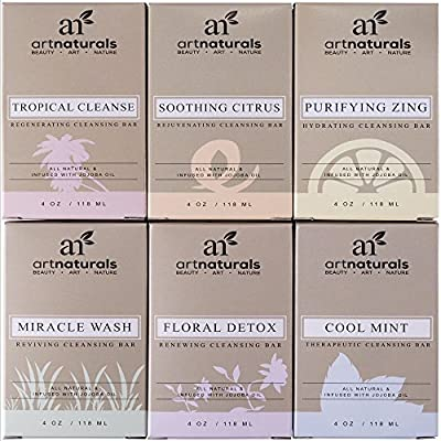 Art Naturals 6 Piece Soap Bar Set 4.0 oz Each | 100% Natural & Infused with Jojoba Oil - Best for all Skin Types, Body & Face, Men & Women (Tea tree, Lavender, Eucalyptus, Lemon, Grapefruit & Orange) ...