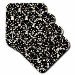 3dRose cst_212491_3 Art Deco Pattern Black and Gold Ceramic Tile Coasters (Set of 4)