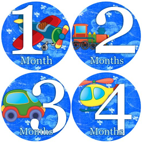 AIRPLANES CARS TRAINS HELICOPTERS Baby Month By Month Stickers - Baby Month Onesie Stickers Baby Shower Gift Photo Shower Stickers, baby boy Airplanes
