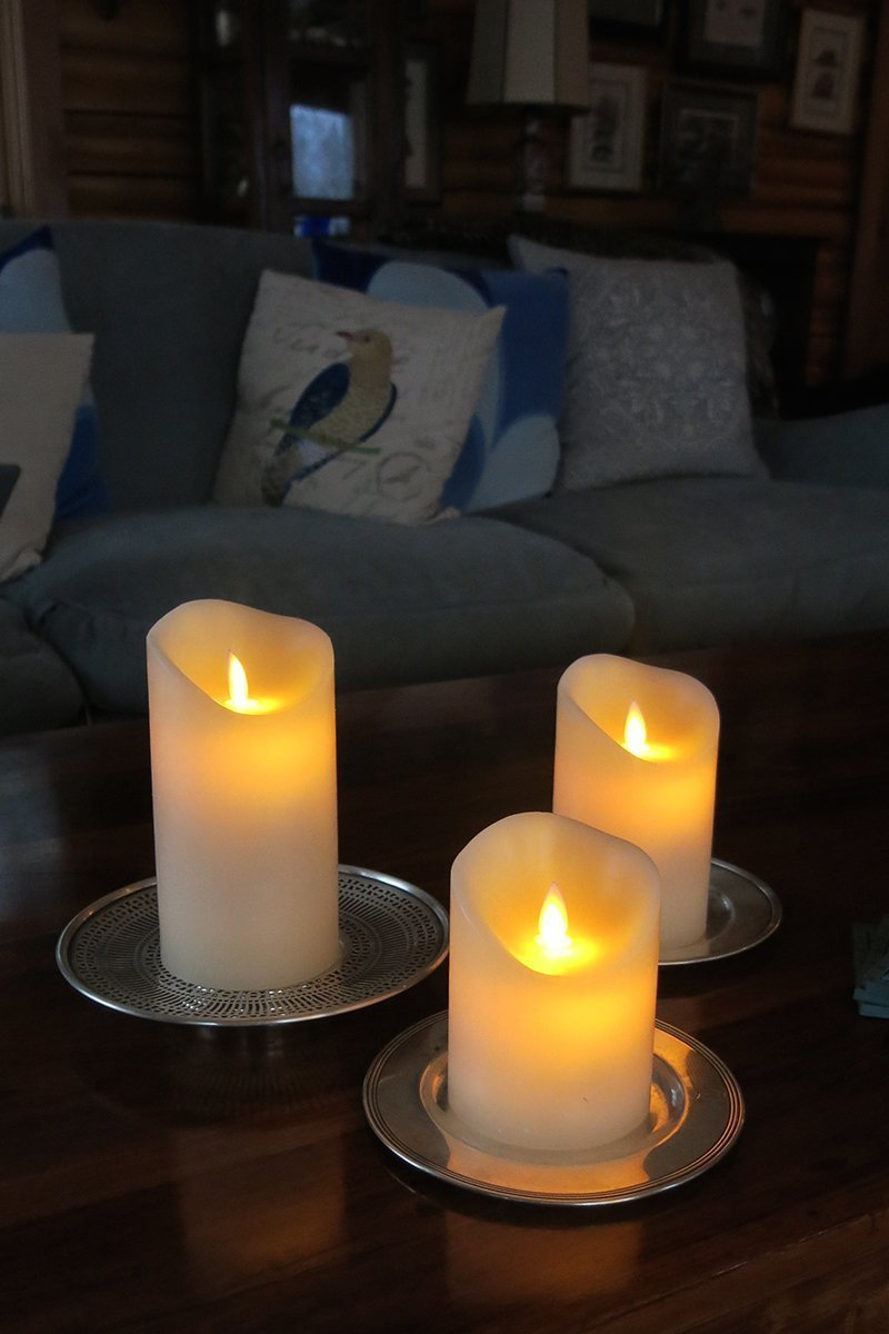 "Air Zuker Flameless Candles Battery Operated Candles Real Wax Pillar LED Candles with Dancing Flame with 10-key Remote and Cycling 24 Hours Timer, Height 4"" 5"" 6"", Ivory - Set of 3"