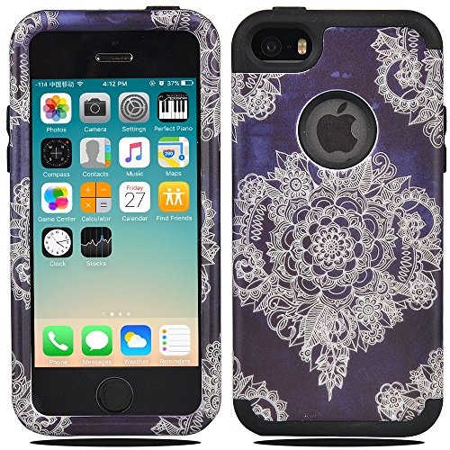 iPhone SE Case, iPhone 5C Case, MagicSky [Shock Absorption] Hybrid Dual Layer Armor Defender Protective Case Cover For iPhone SE / iPhone 5S / iPhone 5 / iPhone 5C - Flower (Iphone 5c Flower Case Protective compare prices)