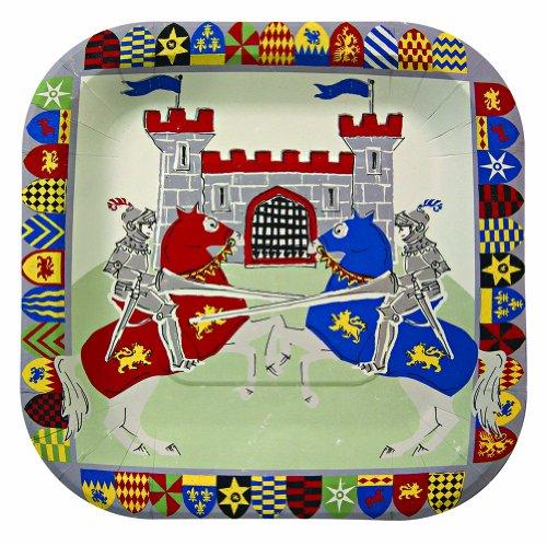 Meri Meri Brave Knights 7.25-Inch Small Square Plates, 12-Pack