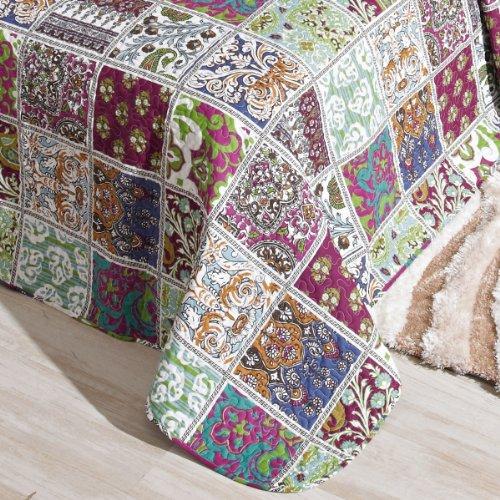 San Carlos Tableaux - Colcha bouti patchwork, relleno ligero, esquinas redondeadas, color morado