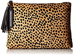 LOEFFLER RANDALL Tassel Pouch Haircalf Clutch, Cheetah, One Size