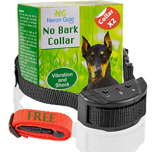 Neron Gold Pets No Bark Dog Collar For Bark Control | 7 Levels of Sensitivity | For Medium Large Or Small Dogs | No Harm Warning Beep & Shock Anti Bark Training Collar(Black) | Gift:Stylish Red Collar