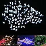 LE® Solar Fairy Lights - 55ft - Waterproof - 100 LEDs - 1.2 V - Daylight White - Portable - with Light Sensor - Outdoor String Lights - Christmas Lights - Wedding - Party