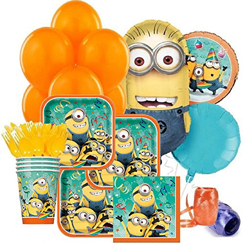 Despicable Me 2 Complete Birthday Party Package for 8 Guests - Includes Balloons, Plates, Napkins, Cups& Cutlery