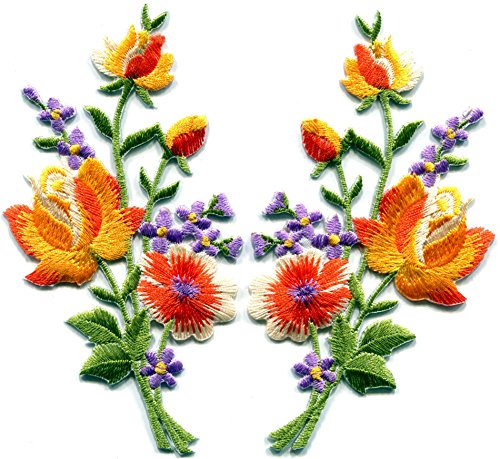 orange-roses-pair-flowers-floral-bouquet-boho-embroidered-appliques-iron-ons-patches-new