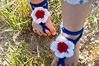 Blue And White Flower Baby Barefoot SandalsCrochet Toddler Barefoot SandalsSummer Kids Accessories0-