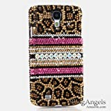 BlingAngels® Luxury Swarovski Crystal Diamond Bling Leopard with Pink Strip Design Case Cover for Samsung Galaxy S4 S IV i9500 fits Verizon, AT&T, T-mobile, Sprint and other Carriers (100% Handcrafted by BlingAngels with Pink Carrying Pouch)