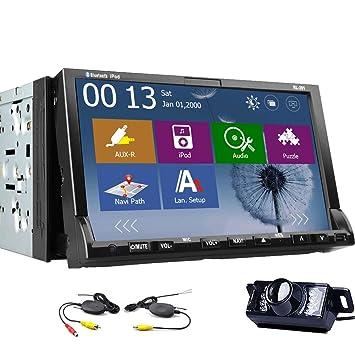 CamšŠra sans fil gratuit compris 7-pouces šŠcran TFT 2 Din WINDOWS CE 8.0 au tableau de bord voiture lecteur DVD avec, USB pour iPod / iPhone 4 / 5s / 6-entršŠe, navigation-pršºt Gps, rds (Meilleur ven
