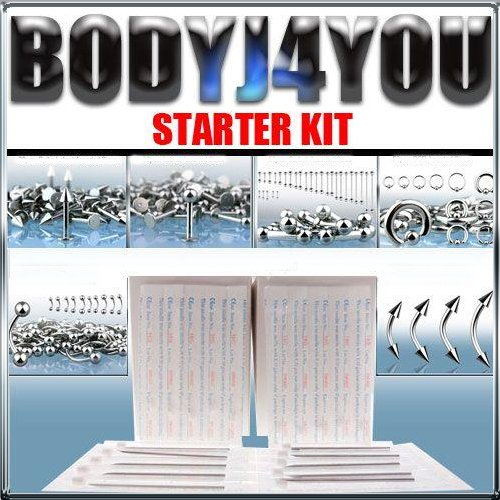 350 Piece 14g &16g 316l S.steel Body Piercing Jewelry Starter Kit W/piercing Needles and 50pc Free Retainer Bounes