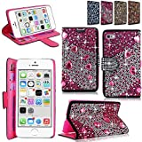 iPhone 6 6S 4.7 inch Case - Cellularvilla Pu Leather Wallet Diamond Design Sparkle Glitter Card Flip Open Pocket Case Cover Pouch For Apple iPhone 6 6S 4.7 inch (Pink Silver)