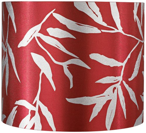 Red Drum With Silver Leaves Lamp Shade 12X12X10 (Spider) front-1029965