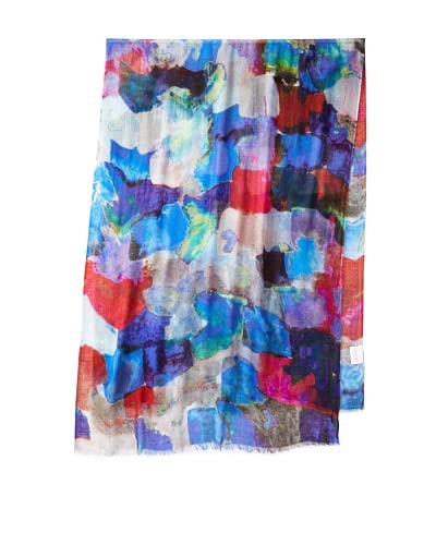 Saachi Women's Watercolor Painting Digital Print Scarf, Blue