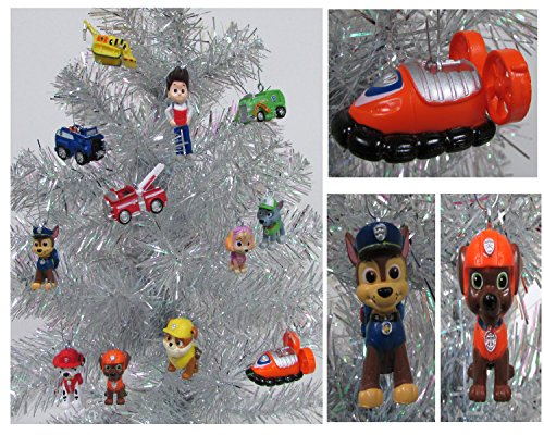 """PAW PATROL 12 Piece Christmas Ornament Set Featuring Skye, Marshall, Chase, Rubbie, Zuma, Rocky, Ryder and Vehicles, Ornaments Average 1"""" to 2.5"""" Ta"""