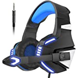 VersionTech Stereo Gaming Headset for PS4 Xbox One, Over Ear Headphones with Noise Isolating Mic, LED Light, Volume Control for Laptop, PC, Tablet, iMac, PSP, Mobile Phone -Blue