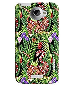 Blue Throat Snake In Grasspattern Hard Plastic Printed Back Cover/Case For HTC One X