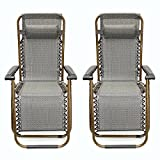 LEXPON Outdoor Folding Lounger Recliner Sun Garden Relax Armrest Chair Gray 2Pcs