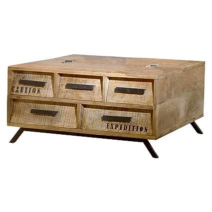 Couchtisch Wohnzimmertisch Sofatisch Romsdal, Retro Vintage Design, Massivholz Mangoholz Natur, Breite 90 cm, Tiefe 90 cm, Höhe 45 cm