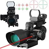 Beileshi 3-in-1 Useful 2.5-10x40 Tactical Rifle Scope Dual Illuminated Mil-dot with Red Laser w/ Rail Mount & 4 Reticle Green / Red Dot Sight (Color: Black)
