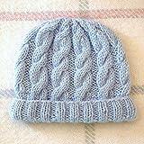 Gorro para bebé, diseño de trenzado, irlandesa:, hecho a mano, 12 meses, color azul