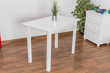 Esstisch Esszimmertisch 60x100 cm Kiefer massiv, Farbe: Weiß
