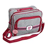Messenger style Cosmetic Makeup and Toiletry Travel Bag - White and Black with Cherry