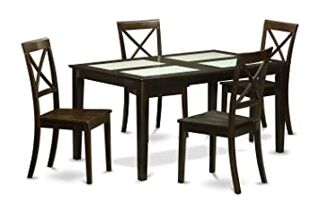 East West Furniture CABO5G-CAP-W 5-Piece Dining Table Set