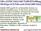 100 x Gufic Sallaki 400mg Tablets Weihrauch Boswellia Serrata Shallaki Indian Frankincense Rheumatoid Arthritis Spondylitis Myositis Fibrositis *SHIP FROM UK