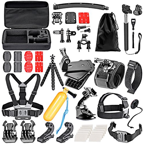Neewer 50-In-1 Action Camera Accessory Kit for GoPro Hero 4/5 Session, Hero 1/2/3/3+/4/5, SJ4000/5000, Xiaomi Yi, Nikon and Sony Sports DV in Swimming Rowing Climbing Bike Riding Camping and More (Omo Steering Wheel compare prices)