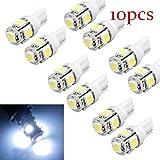 10pcs T10 Wedge 5-SMD 5050 Xenon LED Light bulbs 192 168 194 W5W 2825 158 ,Tuscom (10pcs /Cool White)