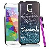 BeeShine Retail Package Diamond Pattern Galaxy S5 Snap-on Hard Plastic Skin Back Case Cover W/ LCD Film Screen Protector & Touch Stylus Pen for Samsung Galaxy S5 / SV /G900