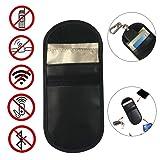 Fiaya Car Key Signal Blocker, Leather Car Key Signal Blocker Case Faraday Cage Fob Pouch Keyless RFID Blocking Bag (Black, 1Pcs) (Color: Black, Tamaño: 1Pcs)