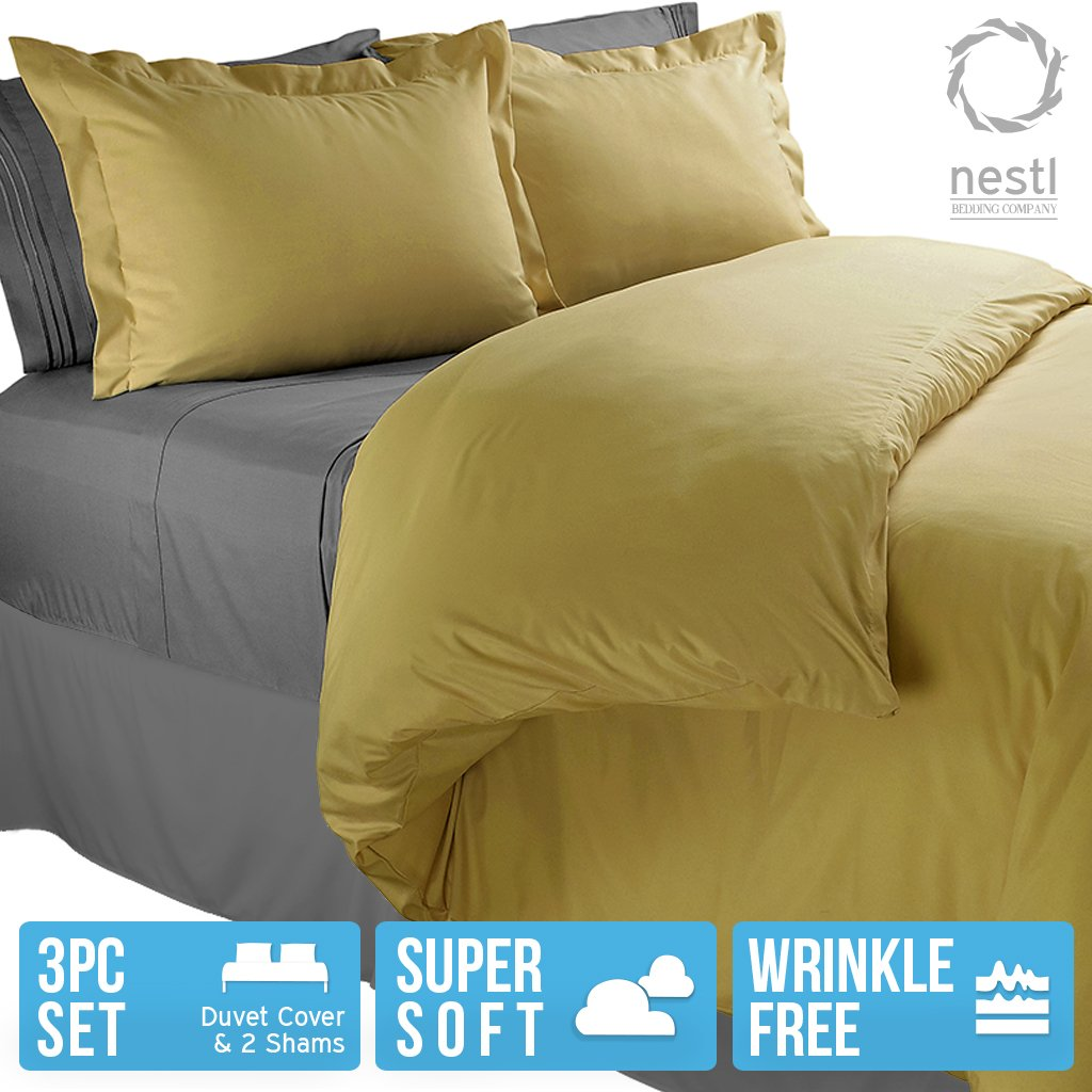 Nestl Bedding Duvet Cover, Protects and Covers your Comforter / Duvet Insert, Luxury 100% Super Soft Microfiber, Queen Size, Color Camel Yellow Gold, 3 Piece Duvet Cover Set Includes 2 Pillow Shams