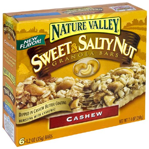 Nature Valley Sweet & Salty Nut Granola Bars, Cashew, 1.2-Ounce, 6-Count Boxes (Pack of 6)