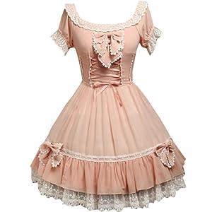 Patiss Women's Sweet Pink Bow Chiffon Lolita One-Piece Dress,XXL,Pink