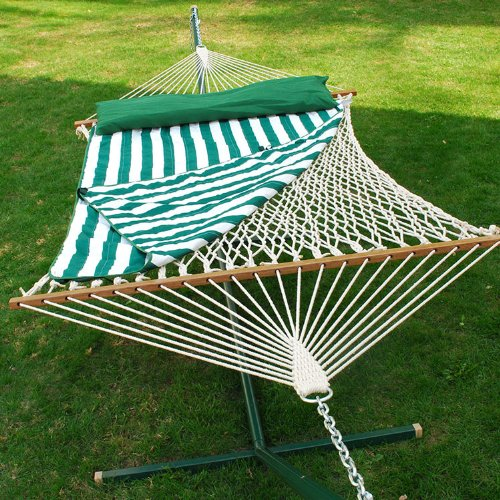 82″ x 60″ Cotton Rope 2-Point Double Hammock with Hanging Hardware, Pad & Pillow