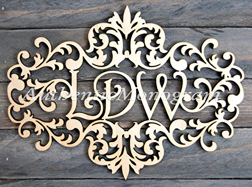"Wooden Victorian Frame Monogram Painted Monogram, Home Decor, Wedding Decor,Initial Monogram, Door Hanger, Guarden 91117P* (18"")"