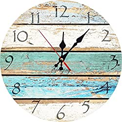Grazing 12 Vintage Arabic Numerals ,Shabby Beach, Weathered Beachy Boards Design ,Ocean Colors Old Paint Boards Printed Image, Rustic Mediterranean Style Wooden Decorative Round Wall Clock (Sky)