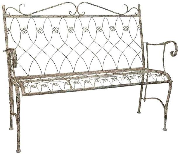 5Y0158 Clayre & Eef - Mobili per giardino - Panchina - Ferro - Marrone ca. 118 x 36 x 68 cm