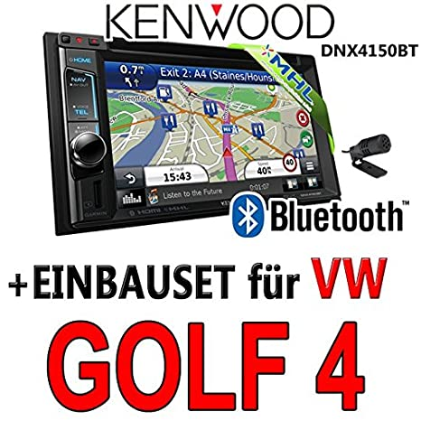 VW golf iV - 4-kenwood dNX4150BT 2DIN navigationsradio uSB mHL avec